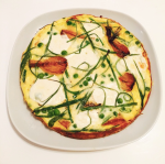 frittata tuesday! mozzarella, spring onions, peas & slow-roasted balsamic shallots
