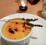 guest-snapped close-up of lavender & honey creme brûlée